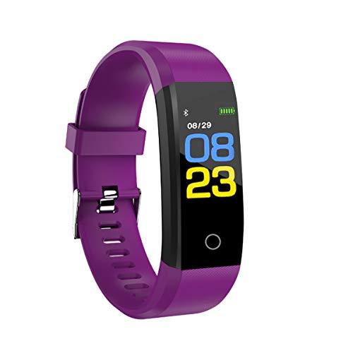 RBNANA Reloj de actividad física, rastreador de actividad para hombres, mujeres y niños, reloj inteligente impermeable con monitor de sueño, contador de pasos y monitor de frecuencia cardíaca, morado