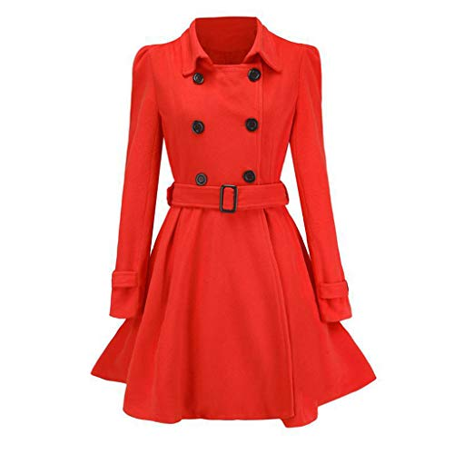 KissYou Warme Wintermäntel für Frauen, Wolltrenchcoat für Damen Mittellange Zweireiherjacke mit Gürteln(#07,L)