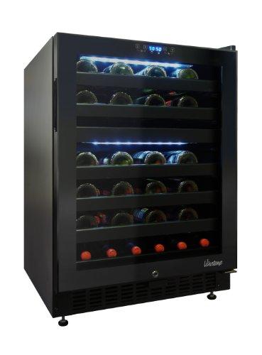 Vinotemp 46 Bottle Dual-Zone Touch Screen Wine Cooler, Black