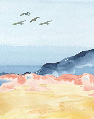 Abstract Landscape No.12 - Ocean Seascape with Birds Wall Art Print. 11x14 UNFRAMED Watercolor Nature Decor. Shades of Blue, Pink, Golden Yellow, Grey & Peach/Coral.