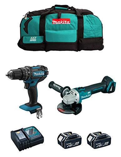 MAKITA Kit MK205 (Taladro Percutor DHP482 + Mini-Amoladora DGA504 + 2 Baterías de 5,0 Ah + Cargador + LXT600)