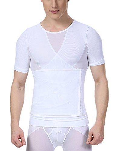 AIEOE - Hombre Shapewear Faja Reductora de Abdomen Transpirable Camiseta Top Moldeadora Adelgazante para Deportes - Blanco - Talla ES M