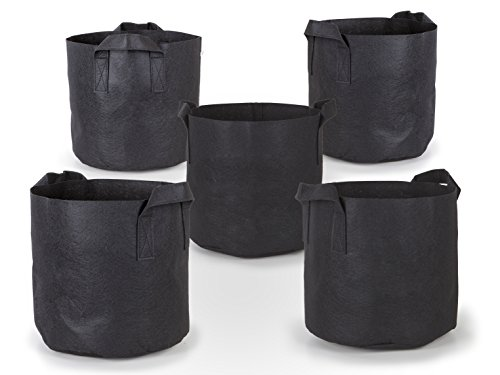 247Garden 5-Pack 7 Gallon Grow Bags/Aeration Fabric Pots w/Handles (Black)