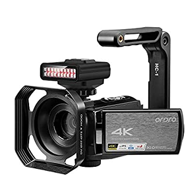 4K Video Camera Camcorder ORDRO HDR-AE8 UHD 1080P 60FPS Digital WiFi Camera Camcorders IR Night Vision 3.0'' IPS Touchscreen Vlogging Camera with 32GB SD Card and 2 Batteries by ORDRO
