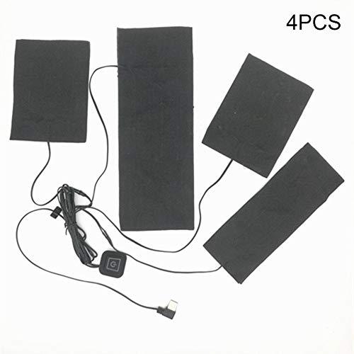 waterfaill Almohadillas De Calentamiento Eléctricas De Carga USB 4 En 1, Calentador De Ropa, para Ropa Calentada De Bricolaje, Chaleco Calefactado O Accesorios De Termostato De Chaqueta