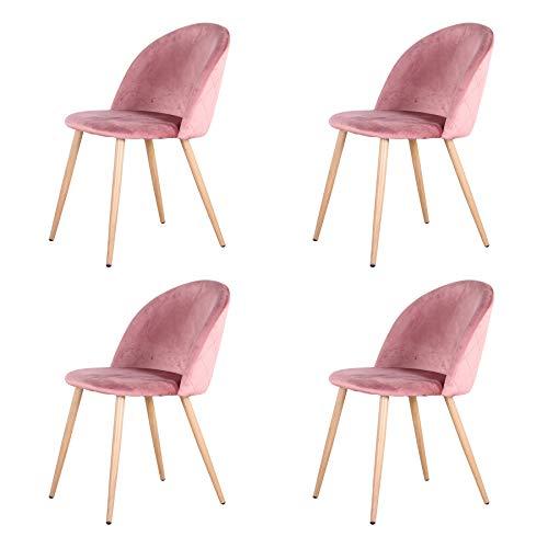 Uderkiny Juego de 2/4/6 sillas Silla de Comedor de Terciopelo con Respaldo, Apto para Cocina salón Comedor Dormitorio (Rosa-4)