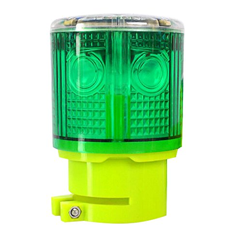 Aolyty Solar Strobe Warning Light 360 Degree Super Bright Waterproof IP48 for Construction Traffic Dock Marine Wireless Light Control Flashing (Green)