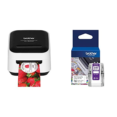 """Brother VC-500W Versatile Compact Color Label and Photo Printer with Wireless Networking & Genuine CZ-1001 3/8"""" (0.37"""") 9mm Wide x 16.4 ft. (5 m) Long Label roll Featuring Zink Zero Ink Technology"""