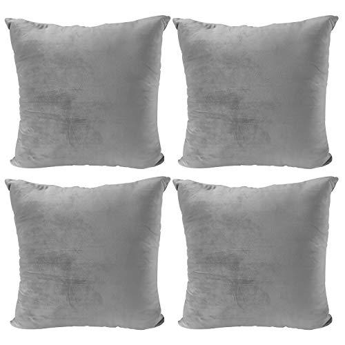 JOTOM Velvet Soft Soild Cushion Cover Square Throw Pillow Case for Home Bed Sofa Decor 45 x 45cm,Set of 4(Gray)