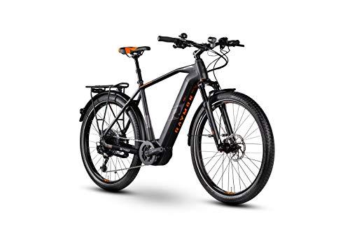 RAYMON E-Tourray LTD 2.0 Pedelec - Bicicleta eléctrica para Mujer, Color Negro y Naranja, Color Negro/Gris/Naranja, tamaño 48 cm