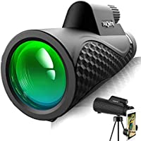 Pronite 12X50 Monocular Telescope with Smartphone Holder (Black)
