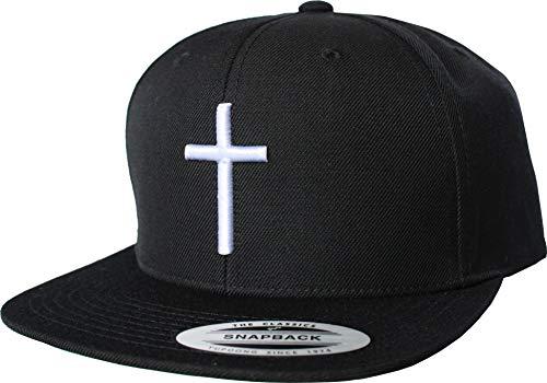 Cap: Kreuz - Flexfit Snapback - Jesus Christus Gott - Urban Streetwear Basecap - Männer Mann Frau-en - Baseball-cap - Hip-Hop Rap Mütze Kappe - Christ Christlich Gebet Kirche Pray (Schwarz-Weiss)