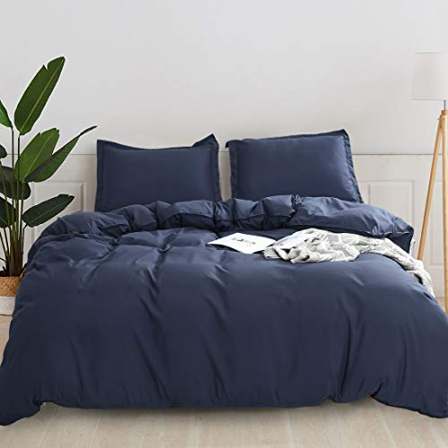 Quilt Sets King Size Navy Blue 3 Piece Duvet Cover Set -Comforter Sets-Ultra Soft Microfiber Hotel Soft and Breathable with Zipper Closure & Corner Ties,1 Quilt Cover and 2 Pillow Shams