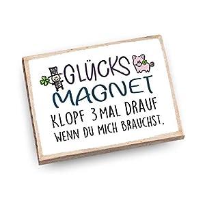 Handmade Magnet aus Buchenholz mit Spruch | Glücksmagnet