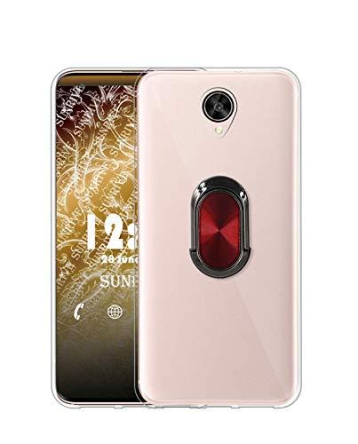 Sunrive Kompatibel mit Meizu Pro 6 Plus Hülle Silikon, 360°drehbarer Ständer Ring Fingerhalter Fingerhalterung Handyhülle Transparent Schutzhülle Etui Hülle (A4 Rot schwarz) MEHRWEG