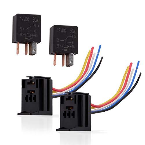 Ehdis 5-pins kabel, rei-sokkel, harness-stekker, 12 V DC 30 A, SPDT, multi-Purpose, heavy duty standaard relay-kits voor auto, 1 verpakking