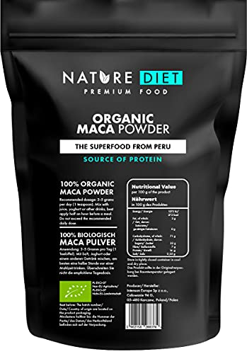 Nature Diet - Maca Orgánica 1000g   Raíz de maca   Polvo   Sin gluten