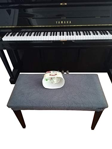 Qualitrusty Waterproof Piano Bench Cover - Perfect for Pets, Kids, Elderly, Weddings, Parties - Machine Washable, Elastic, Removable - Cleans Easily(Charcoal)