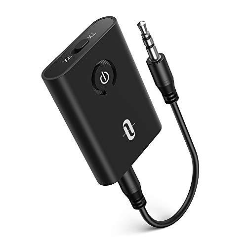 TaoTronics Adaptador Bluetooth 5.0 Transmisor Receptor 2 en 1 Empareja 2 receptores Jack 3,5 mm Baja latencia para TV/Coche/Audio/Música