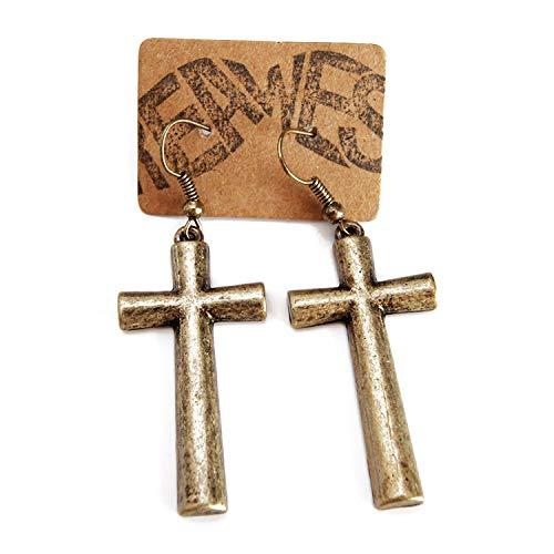 Kruis oorbellen brons - 2 stuks - vintage oorbel