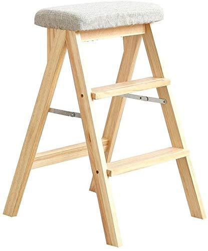 Madera de apoyo sofá plegable cocina de lavado taburete reposapiés silla de madera o estrado portátil adulto antideslizante y resistente a los arañazos ( Color : Log Grey , Size : 67*42*48cm )