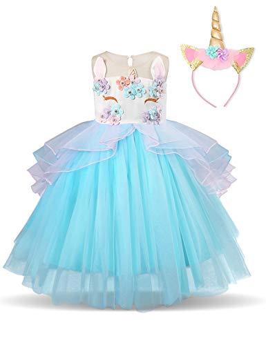 NNJXD Partido del Unicornio Flor de Las Muchachas del Traje de Cosplay de la Boda de Halloween de fantasía de Princesa Dress + del Mismo tamaño Gorras (100) 3-4 Años Azul