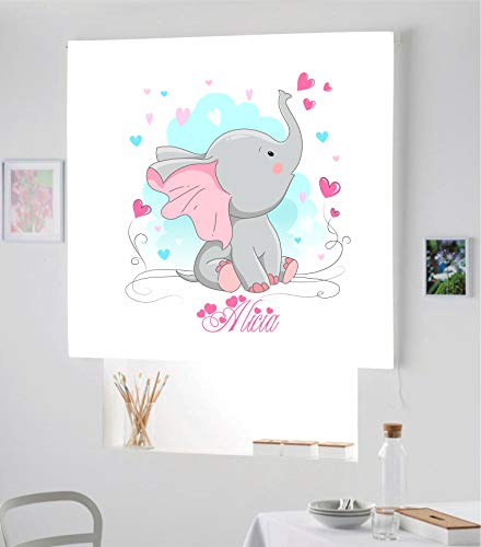 Desconocido Estor Infantil Enrollable TRANSLUCIDO Digital Elefante Alicia para Poner TU Nombre¡¡Nuevo Estor Enrollable Infantil con Nombre A Todo Color HABITACION NIÑAS (Azul/Rosa, 180X170)