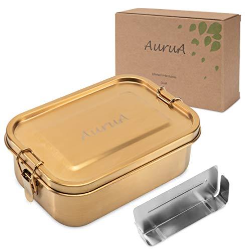 AuruA® Edelstahl Brotdose für Kinder und Erwachsene Gold, plastikfreie Lunchbox aus Metall, Bento Box Brotbox nachhaltig und auslaufsicher (Gold, 800ml)