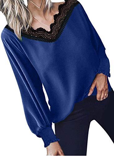 Elegancity Damen Bluse Blau V Ausschnitt mit Spitzen Schick Tunika Mit Laternenärmel Langarmshirt Elegant Hemd Dame Oberteile Blusen Tops L