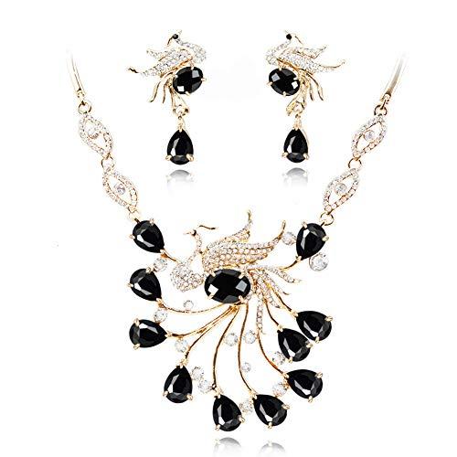 Yddxy Pendiente del Collar Pendiente del Pavo Real del Rhinestone Mujer Circonio Cúbico De Aleación De Moda Conjunto De Joyas (Pendiente + Collar),D