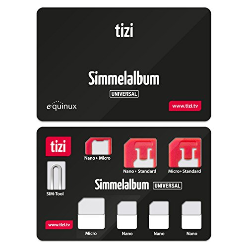 equinux Tizi Simmelalbum Universal - Convenient SIM Card Storage Set (SIM Organizer) with SIM Adapters And SIM Eject Pin