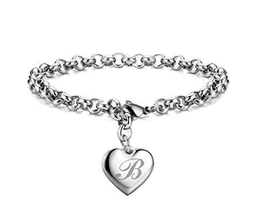 Monily Initial Charm Bracelets Stainless Steel Heart Letters B Alphabet Bracelet for Women