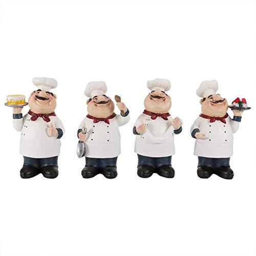 WAQU Figuras de Chef Adorno-Adorno de Barra-4 Piezas Figuras de Chef de Resina Adorno Estatua Modelo Artesanía Decoración Bar Cafetería