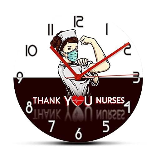 Grazie Orologio da parete decorativo per infermiere per clinica ospedaliera Orologio per assistenza medica Orologio dal design moderno Orologi da infermiera Regali-No Frame
