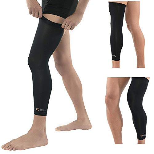 Copper Compression Full Leg Sleeve - Guaranteed Highest Copper Sleeves + Pants. Single Leg Pant Tights Fit for Men and Women. Copper Knee Brace Thigh Calf Support Socks. Basketball, Arthritis (Medium)