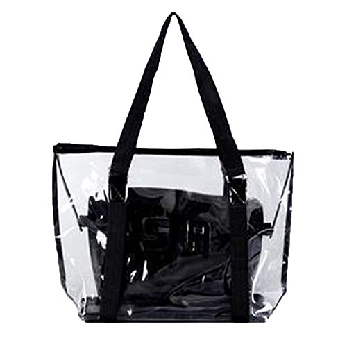 Lazzboy 2 Stück Handtasche Umhängetasche Schultertasche Mode Frauen Klar Strandtasche Wasserdichte (große Tasche + kleine Tasche)(Schwarz)