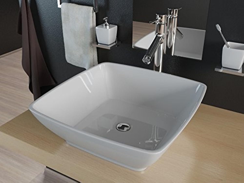 Kerabad Design Aufsatzwaschschale Waschtisch Waschbecken Einbauwaschbecken aus Mineralguss KB-TRQ460