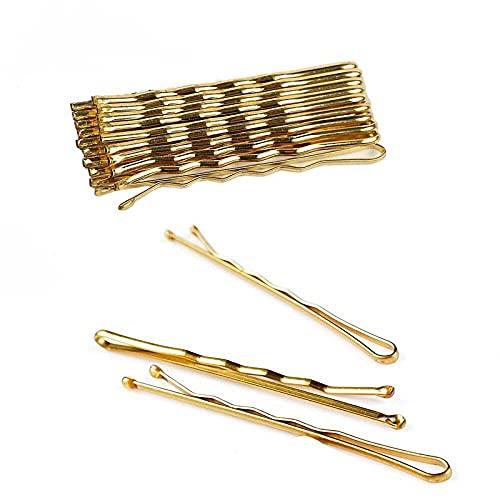 Ealicere Haarnadeln gold, 200 Stück Bobby Pins-Haarnadeln Haarspangen für Mädchen und Frauen-Blond-Gewellt Haarklammern