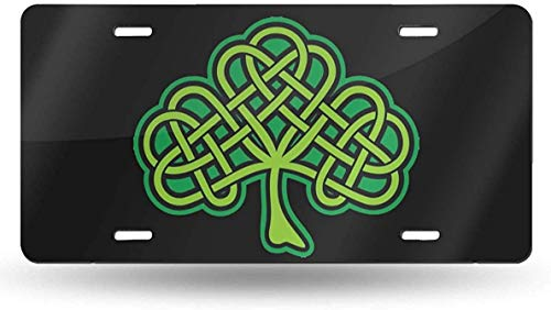 WSEDRF Shamrock Celtic Knot Novelty License Plate Cover License Plate Tag Sign Front Decorative Car Accessories 6'x12'