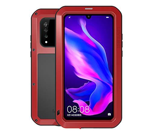 LOVE MEI Compatible Huawei P30 Lite hülle, Outdoor Sports Heavy Duty Powerful Bumper stoßfest wasserdicht staubdicht Metal Schutzhülle mit Eingebautem Gehärtetem Glas Bildschirmschutzfolie (Rot)