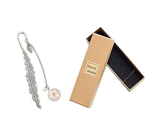 Segnalibro a forma di piuma, in metallo, con perle di vetro, con ciondolo a forma di fiore, ideale come regalo per gli amanti della libreria, per ragazze e studenti