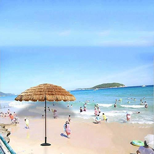 FGVBC Canopy 8 'Hawaiian Tiki Umbrella Design Sombrilla de Playa Hula Sombrilla de Exterior de Color Natural Sombrilla portátil