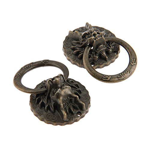 Dophee 4Pcs Antique Bronze Zinc Alloy Vintage Dragon Head Pull Handles for Door Cabinet Bin Wardrobe