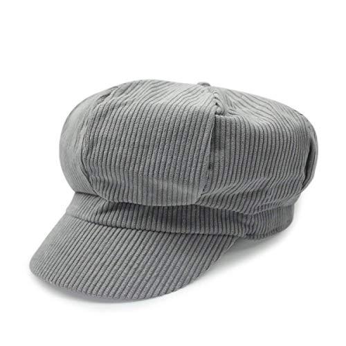 hhGold HhGold Männer und Frauen Hut Cord Kappe Maler Hut Outdoor Freizeit Cap achteckige Kappe Berets (Farbe : Grau, Größe : Einheitsgröße)
