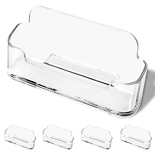 DMFLY Business Card Holder for Desk - 4 Pack Acrylic Business Card Holder Display Plastic Business Card Stand Desktop Business Card Holders for Exhibition, Home & Office, Fits 30-50 Business Cards