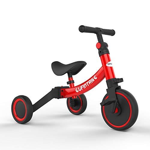 besrey Kinder Dreirad Laufrad Kinderlaufrad Rutschenrad mit Pedal, 5 Verschiedene Modi für Baby von 1 bis 4 Jahren - Rot