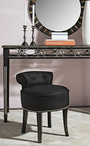 Safavieh Home Collection Georgia Black and Espresso Petite Vanity Stool