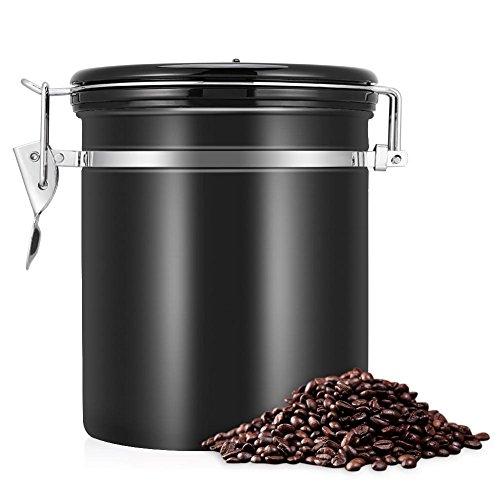Zerodis 1.5L Kaffeedose Luftdicht Edelstahl mit Deckel und Aromaverschluss Kaffeebohne Behälter für Kaffeebohnen Kaffeepulver Tee Kakao Nahrungsmittel(Schwarz)