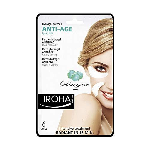 Iroha Nature - Parches Hidrogel para Ojos, Antiedad con colágeno, 6 unidades | Parches Antiedad Contorno de Ojos Colágeno