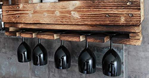RUSTIKALE WANDBAR mit 4cl DOSIERSPENDER für Cocktails, Longdrinks,Vintage Wandregal Flaschenhalter groß aus Paletten Holz, Geschenk Vatertag Hausbar Landhausstil - 7